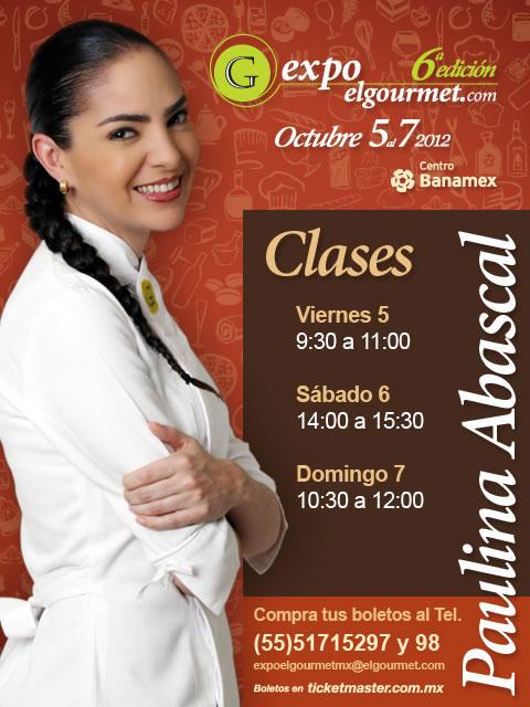 Programa de Clases de nuestra exitosa Chef @Paulina_Abascal en #Expoelgourmet2012 http://t.co/giGGi59k