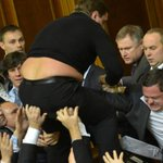 RT @tomgara: Ukraine parliament erupted into a mass brawl today, making this 2012 Ukraine parliament photo more relevant than ever http://t.co/BT9TWAx7