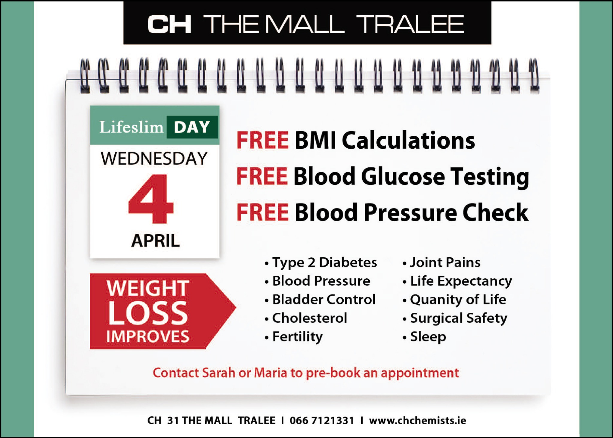 Lifeslim Day tomorrow instore. which will include FREE BMI calculations,Blood Glucose testing and blood pressure checks http://t.co/G0bvvxtT