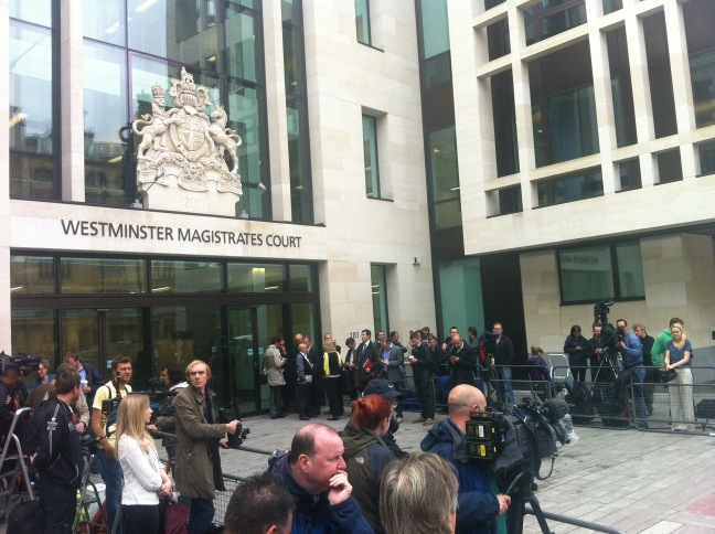 Scene outside Westminster Magistrates - large media presence - John Terry expected to arrive about 09.30 http://t.co/F1jTsEe0