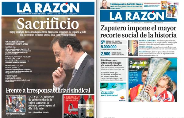 Comparativa de portadas de La Razón: los recortes de Zapatero y los de Rajoy. http://t.co/tkdCzeNK