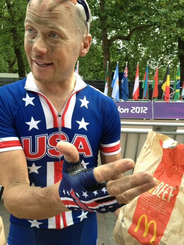 RT @nealrogers: Chris Horner talks about his Olympic road race while eating McDonald's http://t.co/bqtUjz4E