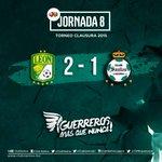 Finaliza el partido, @clubleonfc 2-1 @ClubSantos    J8 - #LigaMX   #GuerrerosMásQueNunca http://t.co/ue0xp2C7pb