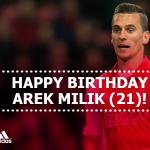 Vandaag is #Ajax-aanvaller @arekmilik9 21 jaar geworden. Gefeliciteerd Arek! http://t.co/b3WZsicrs4