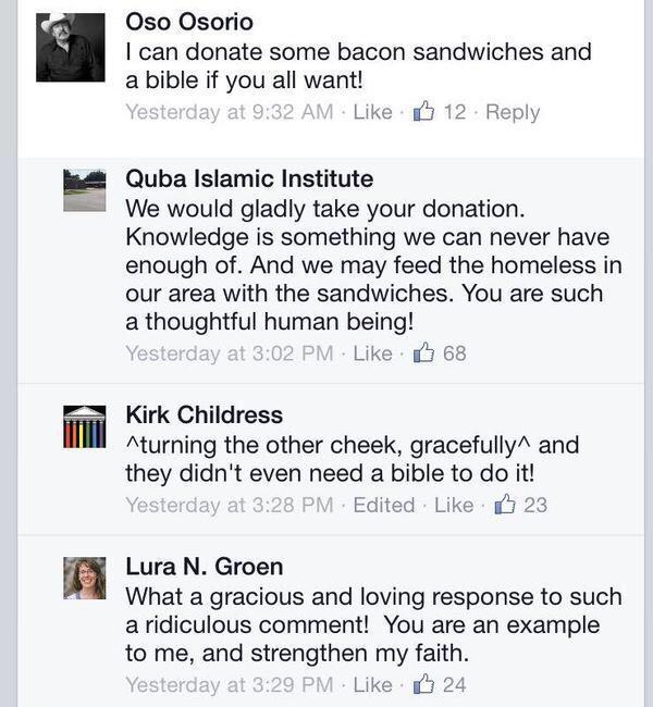 بعد حرق المسجد في هيوستن، كتب أحد الأمريكيين هذا التعليق ساخراً على صفحتهم بالفيسبوك، فكان هذا الردّ الرّاقي والحضاري http://t.co/acuvD4naYV
