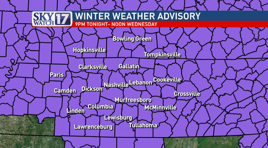 "Winter Weather Advisory issued for all middle TN and S KY. Around 1"" of snow expected tonight/Wed.  #skywatch17 http://t.co/6eB05F8If0"