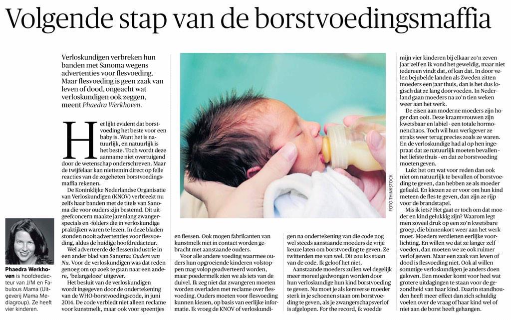 Onze hoofdredacteur is even dekking zoeken. Ze schreef een artikel over borstvoeding in NRC vandaag http://t.co/53NfyR3qGR