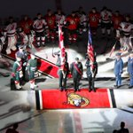 A colour party pays tribute to the fallen soldiers before the start of the NHL hockey games. Source: @Senators http://t.co/GclpvVTmtn