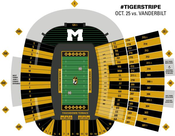 #Mizzou fans, help #TigerStripe the Zou for @MU_Homecoming! Check the map to see if you should wear black or gold. http://t.co/RyYptkpmNL
