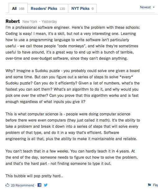 Priceless comment from the NYT article: http://t.co/bvKNUpGQbm.  Our students create a Sudoku solver on Day 5!