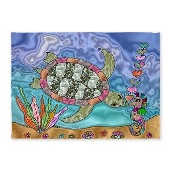 Colorful #Ocean #fantasy #Sea #Turtle #Seahorse #Art 5'x7'Area Rug by Lee Hiller https://t.co/lOajspHxSx https://t.co/GeilfolXgY