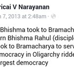 RT @ggiittiikkaa: Americai Narayanan uvaacha: Modern Bhishma Rahul took to Bramacharya to serve the nation. #HellYeah http://t.co/VBnbhSe1ng