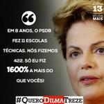 RT @dilmabr: Em 8 anos, o PSDB fez 11 escolas técnicas. Nós fizemos 422. Só eu fiz 1600% a mais do que vcs. #QueroDilmaTreze http://t.co/8zT5hhNz8b