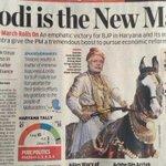 RT @dreamthatworks: WOW News paper showing @narendramodi as a Marathi Warrior after BIG WIN! #mahaverdict #HellYeah @KiranKS @anilkohli54 http://t.co/HzyyhY8JTR