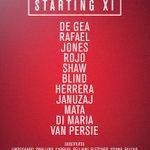 United starting XI: De Gea, Rafael, Jones, Rojo, Shaw, Blind, Herrera, Januzaj, Mata, Di Maria, van Persie #mufclive http://t.co/7vD4CLZjXG