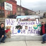Twitter version picture of our sign @RickStockburger #Akron2Detroit #recyclehere http://t.co/3beDjsDRDU