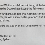 Statement from Gough Whitlams family. #TenNews 5pm http://t.co/2Mo6pDyOan