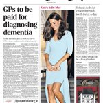 """RT @BBCNews: Daily Telegraph: """"GPs to be paid for diagnosing dementia"""" http://t.co/93yvYC6Sqx (via @suttonnick) #TomorrowsPapersToday #BBCPapers"""