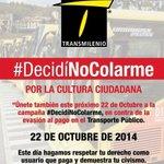 #DecidiNoColarme porque @TransMilenio es de todos! @SectorMovilidad http://t.co/FJKiYwPlXu