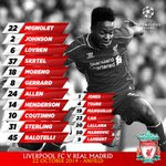 """@LFC: Confirmed: #LFC's starting line-up and substitutes v @realmadrid http://t.co/2iOjPMy0OO"" im ready im ready!! ????"