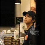 Luhan was spotted at a café yesterday afternoon cr.logo http://t.co/Gz3NL0ro9I
