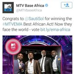"""@SautiSol MTVEMA Best Africa Act!!! Watch out now for Now for """"Sura Yako"""" Remix Song + Video Drops Today!!Ft @iyanya http://t.co/AETtzOxJxV"""