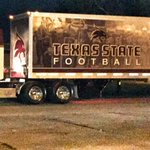 RT @TXSTATEFOOTBALL: TXST1 locked and loaded! Let the 461 mile journey begin. #txst #OnTheRoadAgain http://t.co/g8OODPFrZI