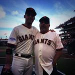 Throwing out tonights 1st pitch is #SFGiants fan Frank Burke who caught Ishis Walkoff HR http://t.co/9KyUl9gvqv