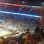 My view Friday night @OrlandoMagic y looking for @El_OrlandoMagic s Joey Colin down there somewhere! #puremagic http://t.co/uzYP1jJVni