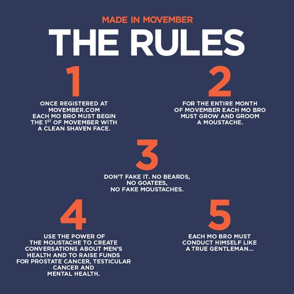 Follow the rules of #Movember. Sign up, shave down, and grow a moustache for men's health http://t.co/abUGAINccU http://t.co/GbiC07DCtF