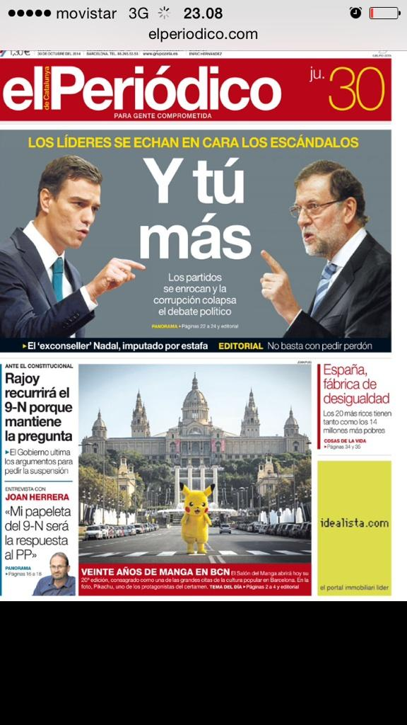 """En la #portadaEPC, la 'rotunda' reacción de los partidos ante la corrupción: """"Y tú más"""" http://t.co/9mjOJPKJw7 http://t.co/li9xm7wB7g"""