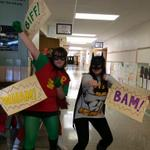 The dynamic duo showed up for red ribbon week! Leave it to Wonder Woman to photobomb. #RedRibbonWeek #SuperheroDay http://t.co/LvJN7cHRX6