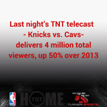 Last night's TNT telecast @nyknicks/@cavs delivers 4 million total viewers, up 50% over 2013 http://t.co/WIQTgfWJKN http://t.co/10y1MAYsnp