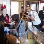 .#Obama stopped at Greggs N Main Providence for lunch ordered chsbgr & death by choc cake! http://t.co/Z3mg4aSilm http://t.co/jf7lRtuyfo