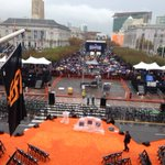 View from the Mayors Balcony, @ 10am, for the #SFGiantsParade. Stay as dry as you can out there! #ChampionsTogether http://t.co/ak3EJMZYsf
