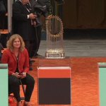 All three #WorldSeries trophies. Truly, a thing of beauty. #SFGiants #OctoberTogether #ChampionsTogether http://t.co/wzN12yyo70