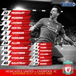 Heres our matchday graphic showing the #LFC team and substitutes to take on Newcastle United. http://t.co/pJaZxVlVnv