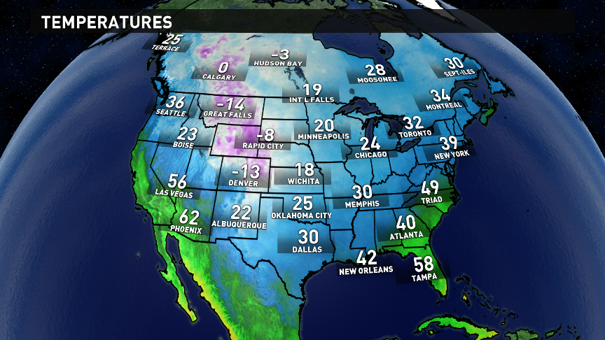 This is the north american current temperature map plenty of cold
