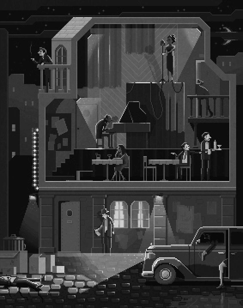 "Scene #11: ""The Night Club"". By far the most challenging #pixelart #illustration I've made to date! :S http://t.co/hdTv5VyYl9"