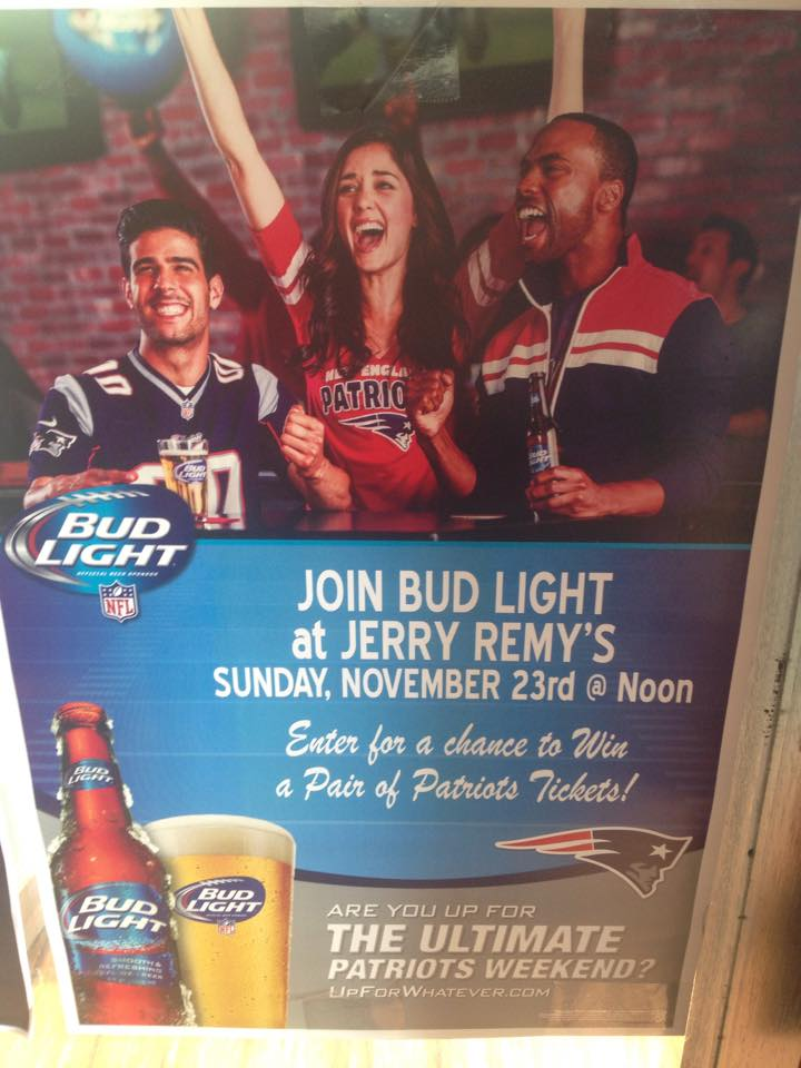 Come in 11/23 for chance to win #Patriots tix! Mention this tweet & get an extra ticket! #Budlight #NFL http://t.co/Oz0SDpN6LU