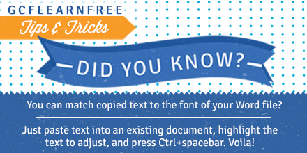 Quick tip: To match doc fonts, just highlight text to change and press Ctrl+spacebar – voila, text is changed! http://t.co/6s7jgq0oCY