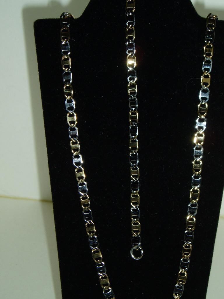 Stainless Steel Chain and Bracelet Set Silver & Gold   Found at http://t.co/KX6T7X3S1a @WenonaThornton http://t.co/lXp6h9lb5r