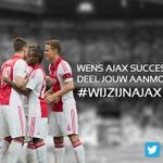 Wens #Ajax succes! Gebruik hashtag #wijzijnajax. Leukste posts komen vanavond op de stadionschermen! #ajahee