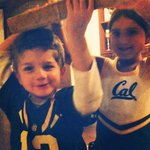 My @cal good luck charms - holding up a piece of the old #memorialStadium - #goBears #beatFurd #bigGame @CalFootball http://t.co/7xCnP9xytD