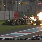Let it @burn RT @Mattzel89: #Maldonado on fire! Really! #AbuDhabiGP #F1 http://t.co/A6cxNmS7JK #F1 #LWYBF