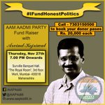 Join @ArvindKejriwal over #DinnerWithKejriwal on 27th Nov in Mumbai & support Honest Politics. #MufflerMan http://t.co/EKb4IDIAnz