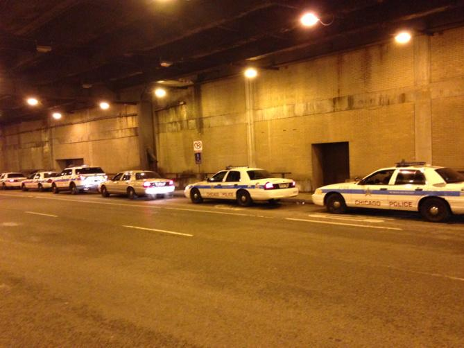 """Even Chicago police readying for #Ferguson news. """"We're on standby,"""" an officer told me.  This is on Lower Wacker. http://t.co/P9fintJNhJ"""