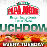 Touchdown for Toppings Tuesday! Get eight FREE toppings from NoCo Papa Johns locations when you purchase $9.99 large http://t.co/dNerQ6NQP6