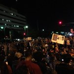 The #Ferguson protest in front of the #LAPD Headquarters tonight has become insanely huge. #LosAngeles #LA #DTLA http://t.co/v3oEW5fKum