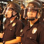UPDATE: #LAPD arrested 183 protestors in downtown L.A, according Police Chief Charlie Beck. http://t.co/yFPfgR2cc2 http://t.co/MFxpe6o03b